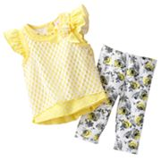 Little Lass Mock-Layer Pointelle Tunic Top and Capri Leggings Set - Baby