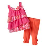 Little Lass Floral Tiered Top and Skimmer Pants Set - Baby