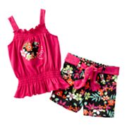 Little Lass Smocked Top and Floral Shorts Set - Baby