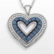 Sterling Silver Blue Diamond Accent Heart Pendant