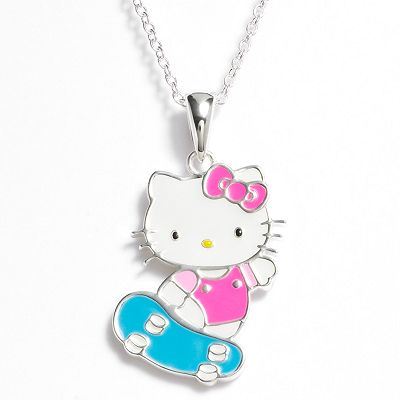 Hello Kitty Silver Plated Skateboard Pendant - Kids