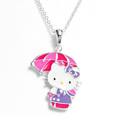 Hello Kitty Silver Plated Umbrella Pendant - Kids