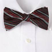Croft and Barrow Dina Striped Glitter Pretied Bow Tie