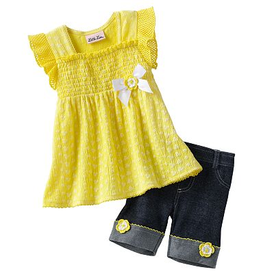 Little Lass Floral Smocked Top and Denim Shorts Set - Baby