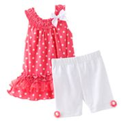 Little Lass Polka-Dot Ruffled Sundress and Shorts Set - Baby
