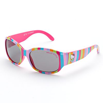 Hello Kitty Striped Rectangle Sunglasses by Riviera - Girls