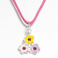 Sterling Silver Crystal Flower Pendant - Kids