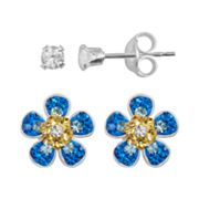 Sterling Silver Crystal Flower Stud Earring Set