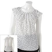 LC Lauren Conrad Dot Pleated Top
