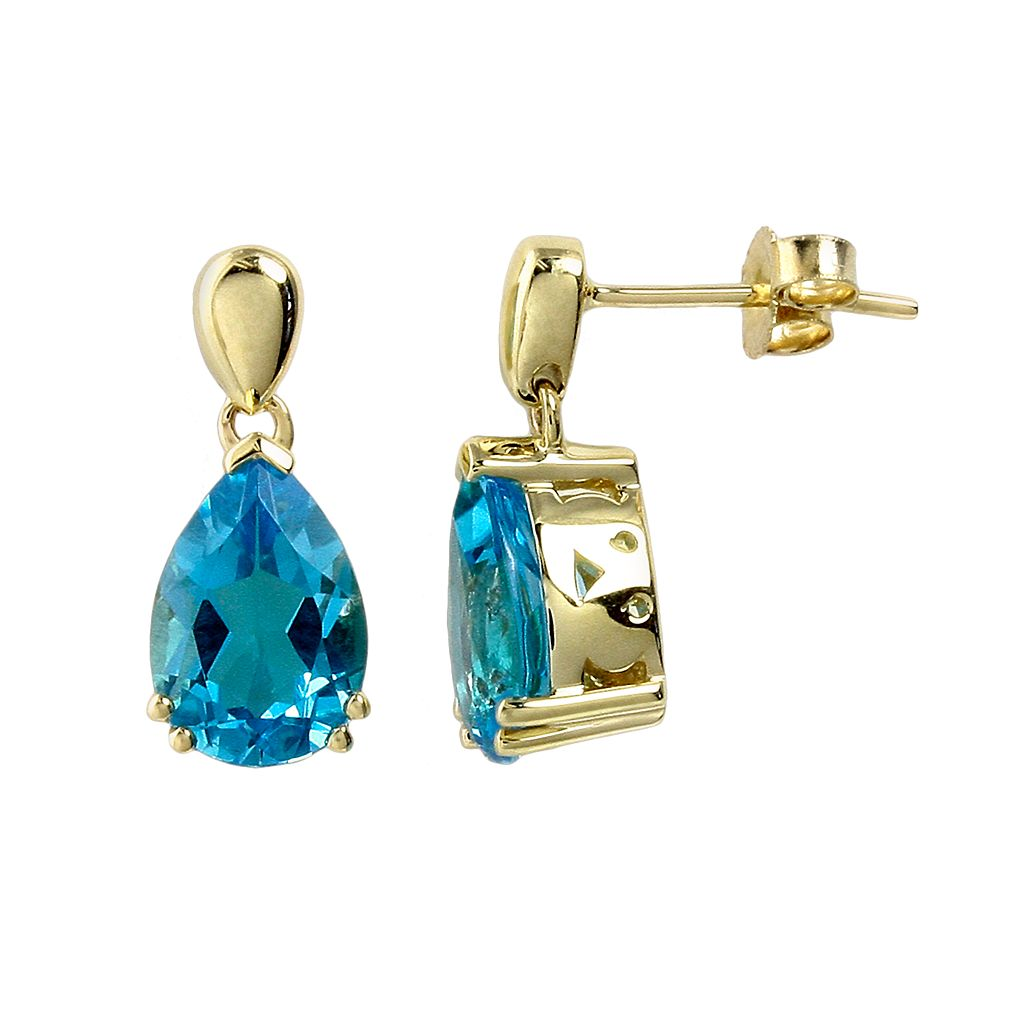 10k Gold Swiss Blue Topaz Teardrop Earrings
