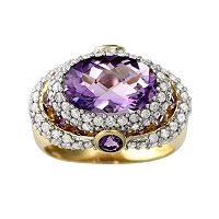 10k Gold 1 ctT.W. Diamond & Amethyst Frame Ring