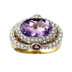 10k Gold 1-ct. T.W. Diamond & Amethyst Frame Ring
