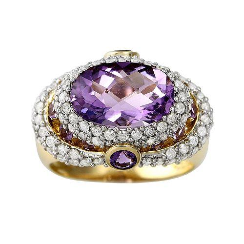 10k Gold 1-ct. T.W. Diamond & Amethyst Frame Ring