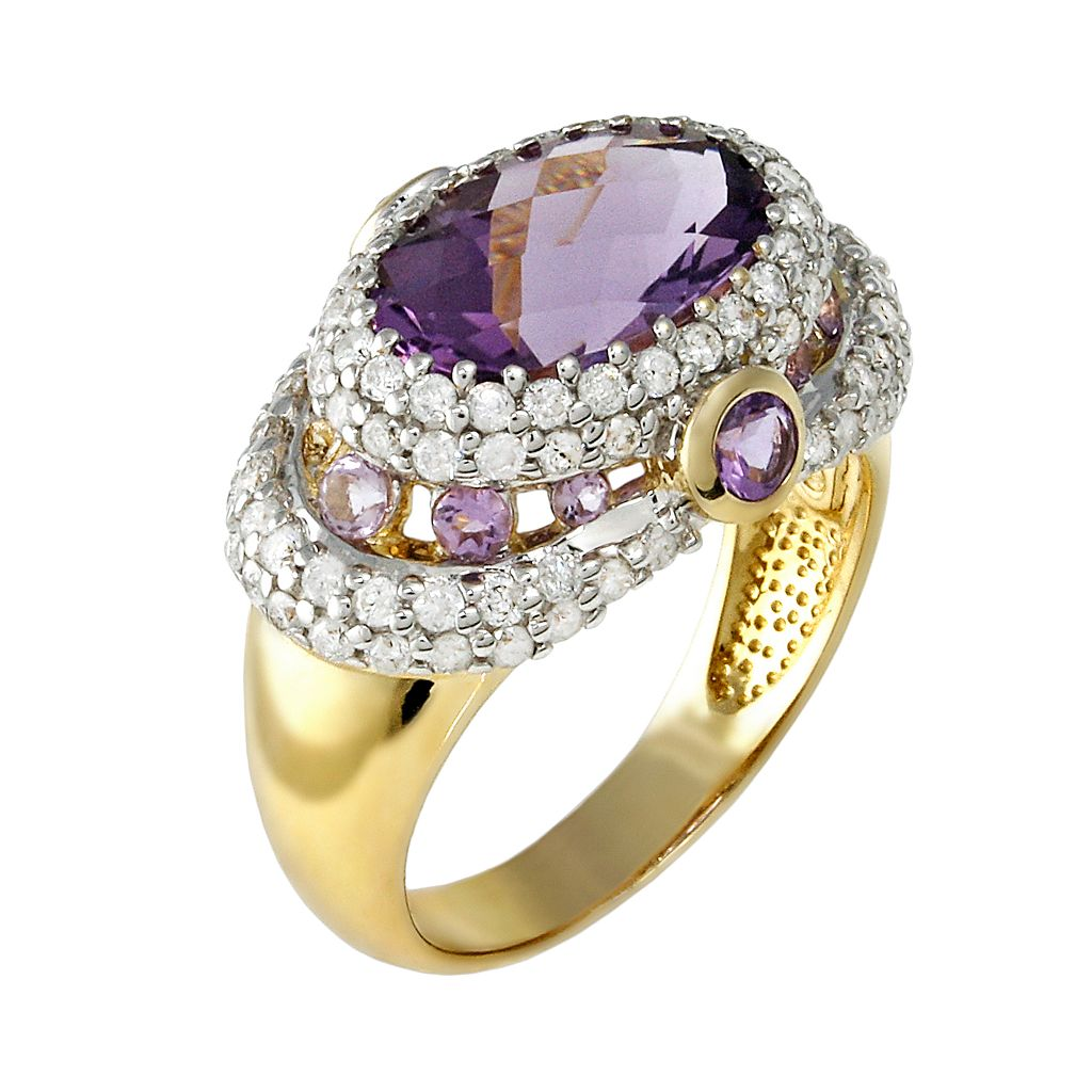 10k Gold 1-ct. T.W. Diamond and Amethyst Frame Ring