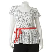 ELLE Polka-Dot Peplum Top - Women's Plus