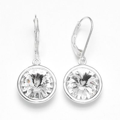 Illuminaire Silver Plate Crystal Drop Earrings - Made with Swarovski Elements