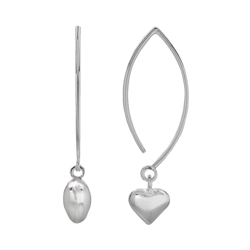 Sterling Silver Puffed Heart Marquise Drop Earrings