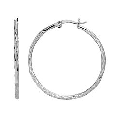 Silver Plated Diamond-Cut Hoop Earrings