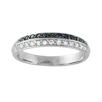 10k White Gold 1/4-ct. T.W. Blue & White Diamond Wedding Ring