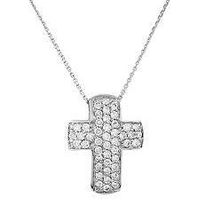 10k White Gold .45 ctT.W. Diamond Cross Pendant