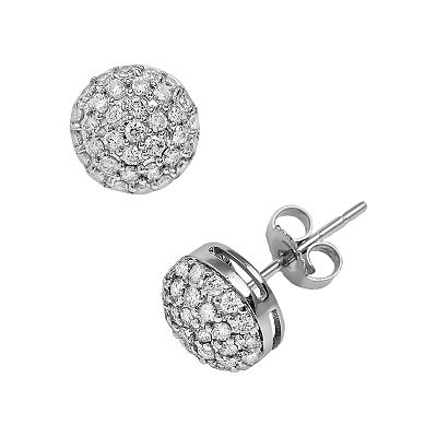 10k White Gold 3/4-ct. T.W. Diamond Dome Button Stud Earrings