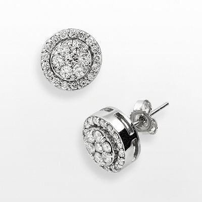 10k White Gold 1-ct. T.W. Diamond Frame Stud Earrings