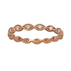 10k Rose Gold 1/5 ctT.W. Diamond Scalloped Eternity Wedding Ring