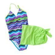 Malibu Dream Girl Striped One-Piece Swimsuit and Shorts Set - Girls 7-16