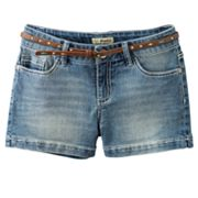 Mudd Belted Denim Shorts - Girls 7-16