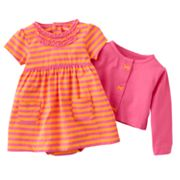 Carter's Striped Bodysuit Dress and Cardigan Set - Baby