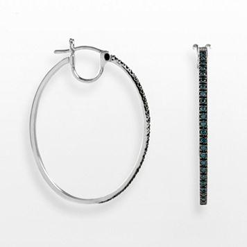 Sterling Silver 1/2-ct. T.W. Blue Diamond Oval Hoop Earrings