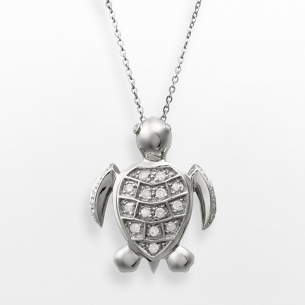 Sterling Silver 1/4-ct. T.W. Diamond Turtle Pendant