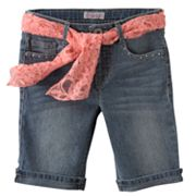 Candie's Belted Cuffed Denim Bermuda Shorts - Girls 7-16