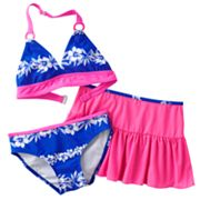 Malibu Dream Girl Floral 3-pc. Bikini Swimsuit Set - Girls 7-16