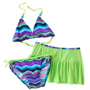 Malibu Dream Girl Striped 3-pc. Bikini Swimsuit Set - Girls 7-16