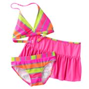 Malibu Dream Girl Neon Striped 3-pc. Bikini Swimsuit Set - Girls 7-16