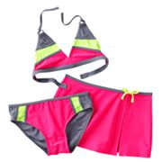 Malibu Dream Girl Colorblock 3-pc. Bikini Swimsuit Set - Girls 7-16