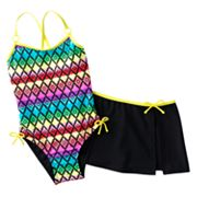 Malibu Dream Girl Patterned One-Piece Swimsuit and Cover-Up Skirt Set - Girls 7-16