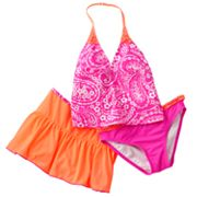 Malibu Dream Girl Paisley 3-pc. Tankini Swimsuit Set - Girls Plus