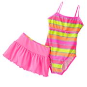 Malibu Dream Girl Neon Colorblock One-Piece Swimsuit and Cover-Up Skirt Set - Girls Plus
