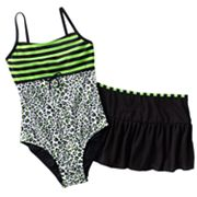 Malibu Dream Girl Leopard One-Piece Swimsuit and Cover-Up Skirt Set - Girls Plus