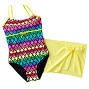 Malibu Dream Girl Patterned One-Piece Swimsuit and Cover-Up Skirt Set - Girls Plus