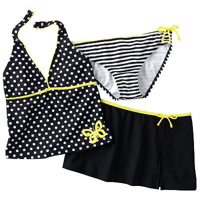 Malibu Dream Girl Dotted Butterfly 3-pc. Tankini Swimsuit Set - Girls Plus