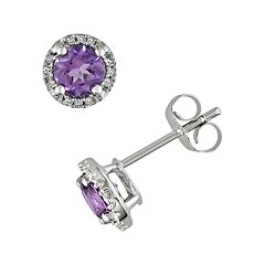 10k White Gold Amethyst & Diamond Accent Frame Stud Earrings