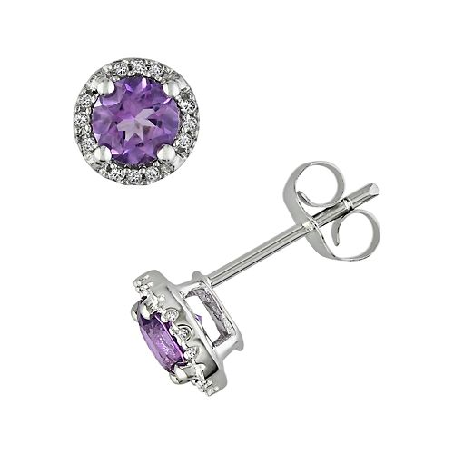 Stella Grace 10k White Gold Amethyst and Diamond Accent Frame Stud Earrings