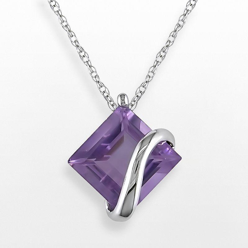 """Stella Grace 10k White Gold Amethyst Swirl Pendant, Women's, Size: 17"""", Purple"""