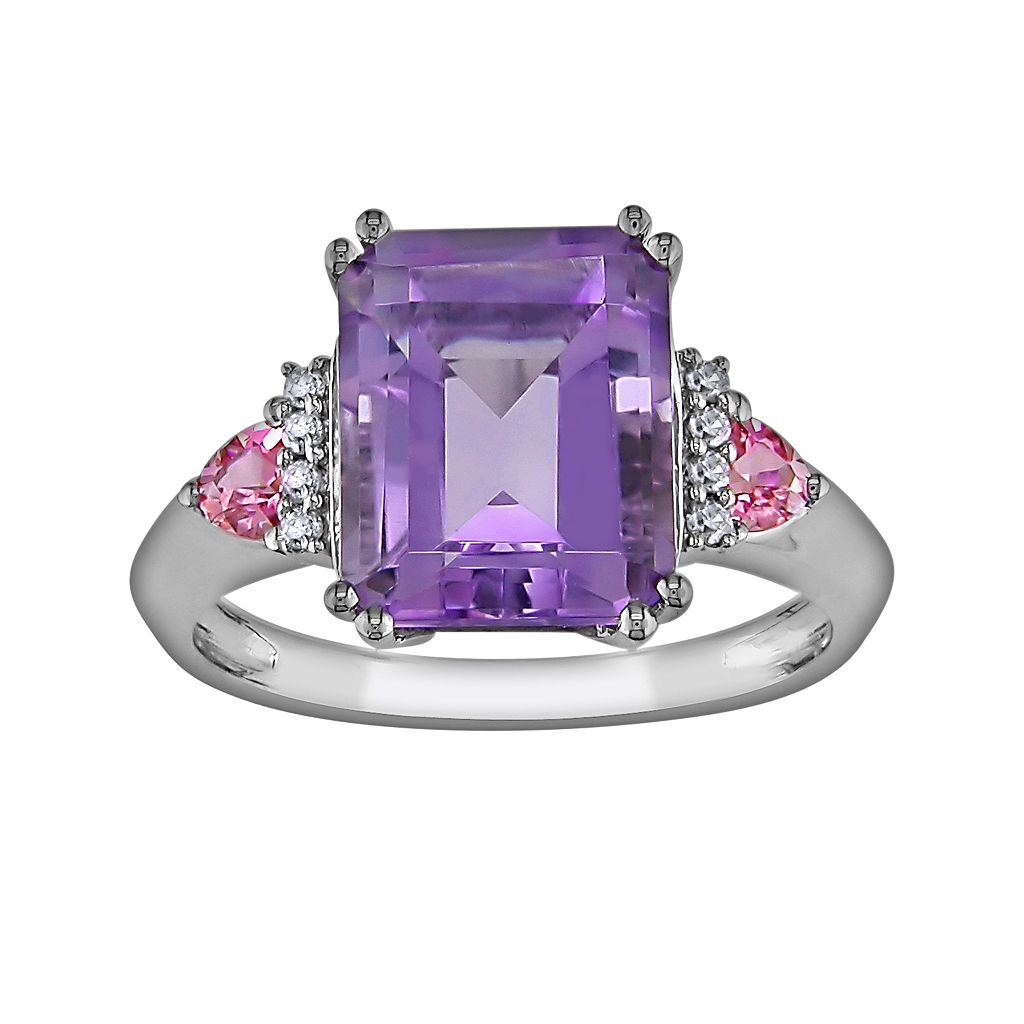 10k White Gold Amethyst, Pink Sapphire & Diamond Accent Ring