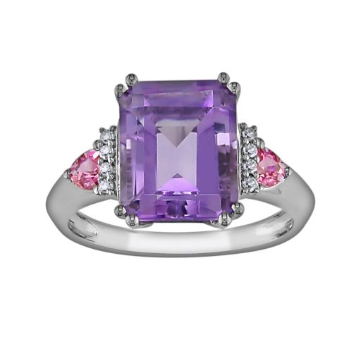 Stella Grace 10k White Gold Amethyst, Pink Sapphire and Diamond Accent Ring