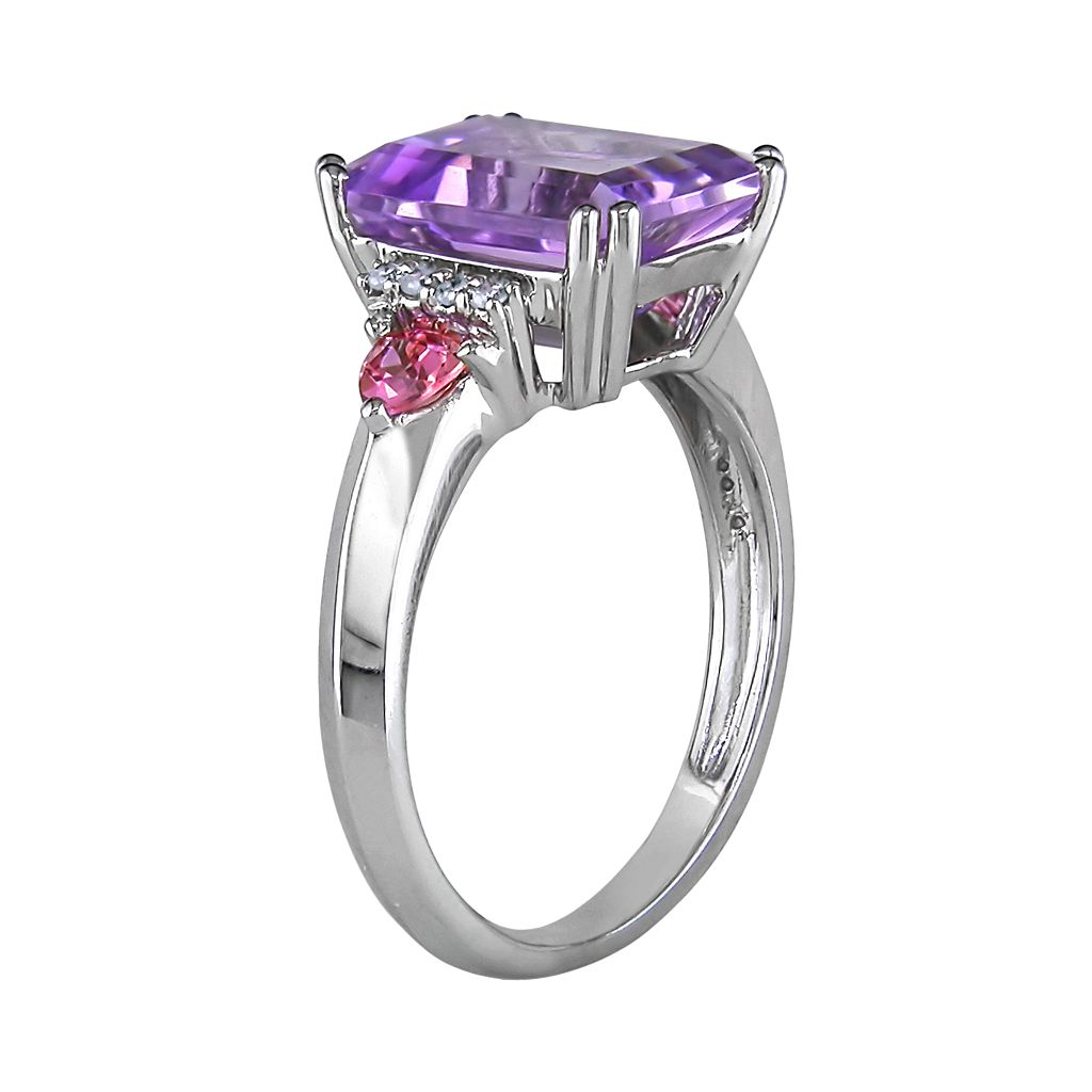 10k White Gold Amethyst, Pink Sapphire and Diamond Accent Ring