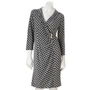Dana Buchman Geometric Faux-Wrap Dress